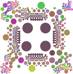 Pink green brown dot on white beautiful background