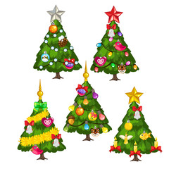 Five green Christmas trees on white background