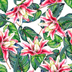 Seamless tropical floral pattern. Oriental pink lilies and exotic calathea leaves on white background. Hand painted watercolor art. Fabric texture.