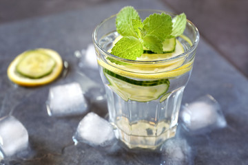 Cool refreshing drink: water, lemon, cucumber and mint