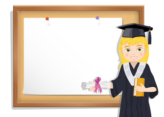 Graduate girl and cork board with paper