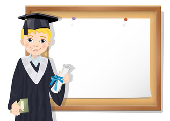 Graduate boy and cork board with paper