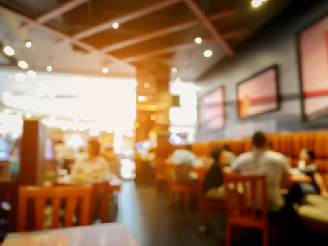 Customer in restaurant blur background with bokeh