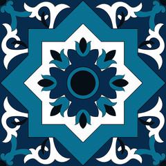 Tile pattern isolated design vector. Portuguese tiles, Azulejo, spanish, italian or moroccan ornaments. Blue and white tiled pattern seamless
