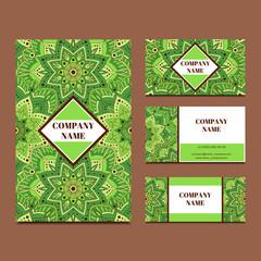 Business card template with decorative ornamental oriental elements. Mandala floral pattern templates. Islam, arabic, turkish, indian or ottoman motifs.