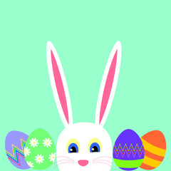 Greeting card with white Easter rabbit and easter eggs on a blue background
