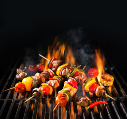 Acrylic Prints Grill / Barbecue Meat kebabs with vegetables on flaming grill