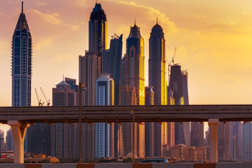 Dubai skyline with modern skyscrapers. Scenic travel background.