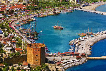 Poster Turquie Turkey. Alanya. Aerial view from the Citadel of Alanya on the Red Tower (Kizil Kule) and marina