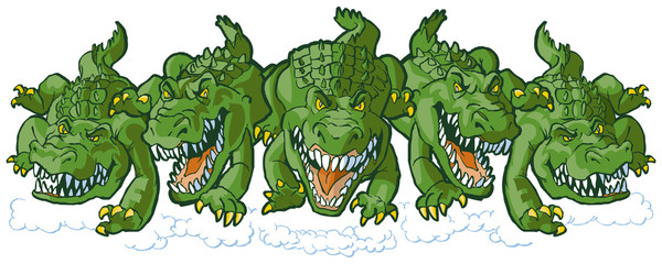 Group of Mean Alligator Cartoon Mascots Charging Forward