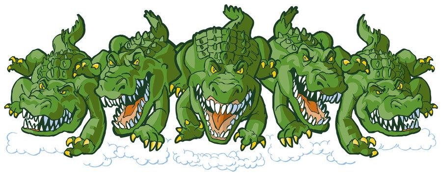 Group of Mean Alligator Cartoon Mascots Charging Forward