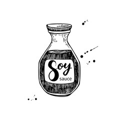 Soy sauce vector bottle. Isolated food drawing.