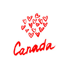 Canada lettering logo with element isolated. Hand drawn vector.