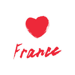 France, hand lettering vector. Modern calligraphy pen and ink.