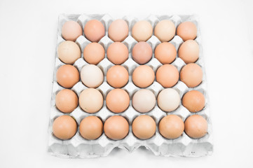 Eggs in paper tray on white background,Brown eggs in an egg carton