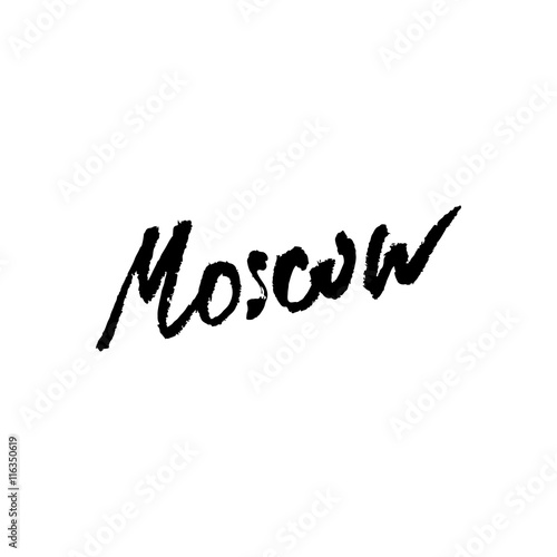 Quot moscow city name hand lettering calligraphy premium