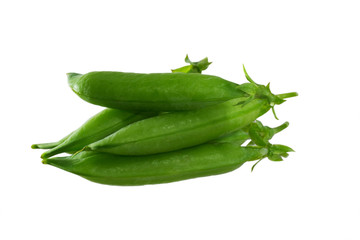 Pea pods on an isolated background