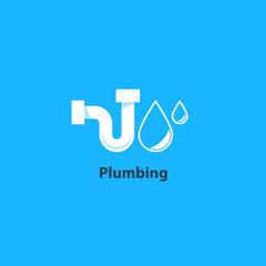 Plumbing service logo, p-trap tubular part, pipes drain concept, repair works, facility installment