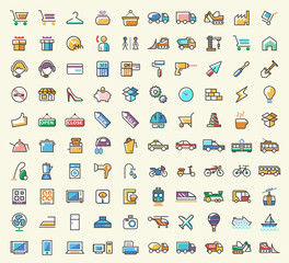 Set of 100 Minimalistic Solid Line Coloured Shopping , Construction , Home Appliances and Transport Icons. Isolated Vector Elements.