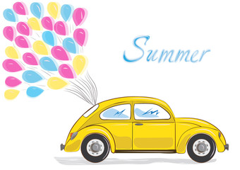 vector yellow car with colorful balloons on white background. happy graphic card