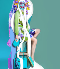 Color art hight fashion portrait vogue blond sexy model fine collage with no faces
