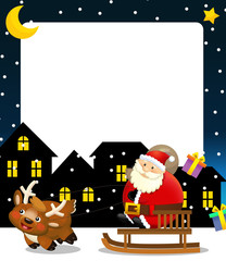 The funny christmas scene- santa claus riding through the city and dropping presents - illustration for children