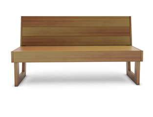 Wooden cedar bench on the white