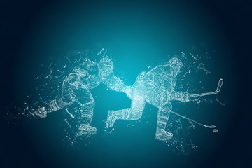 Abstract Ice-Hockey players in action. Crystal ice effect