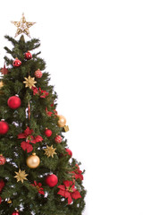 Christmas Tree With Present Isolated on White