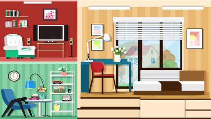Modern graphic set of stylish room furniture. Room interior design. Flat style vector illustration.