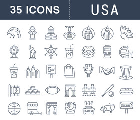 Set Vector Flat Line Icons USA and America