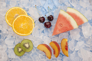 Various fruit on ice.