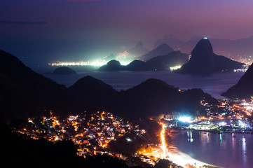 Wall Mural - Night lights and mountains of Rio de Janeiro, Brazil