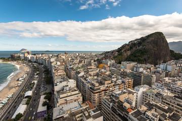 Wall Mural - Aerial view of Copacabana district with Cantagalo slum on the mountain in Rio de Janeiro