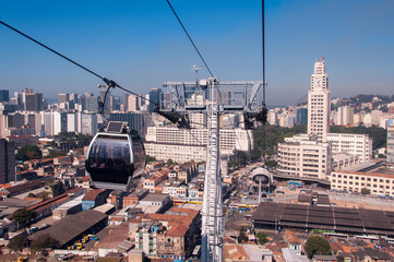 Cable Car Moving Down to a Central Train Station of Rio de Janeiro