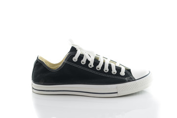 Convenient for sports mens sneakers in black thick fabric on a w