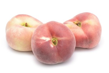 chinese flat peaches isolated on white background