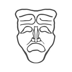 Theatrical masks isolated on white background Vector