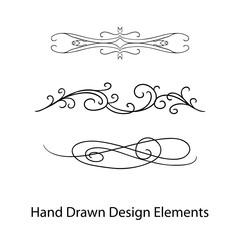vector design element, beautiful fancy curls and swirls divider or underline design, black ink lines. Wedding design element.