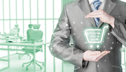 Consumer protection concept. Safety and insurance of trade and goods. Online marketing. Office background.