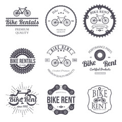 Bike rent. Set of vintage retro logo. Vector