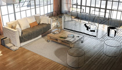 Postindustrial Penthouse Loft (illustration)