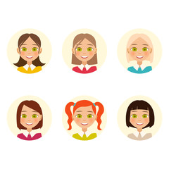 Womens faces. hair color and hairstyles. Vector