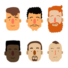 Cartoon Male Faces. Different ethnicity. Vector