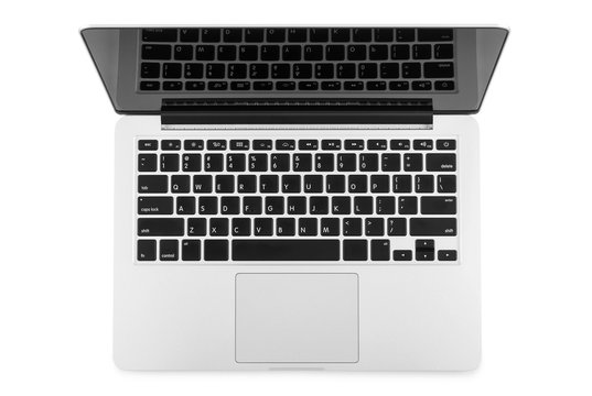 Top view of modern retina laptop isolated on white background, c