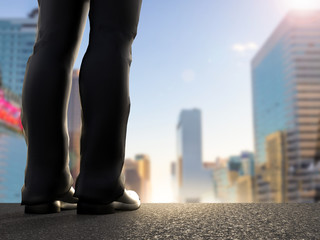 rear view of businessman standing with cityscape background