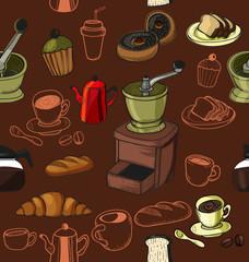 doodle coffee pattern