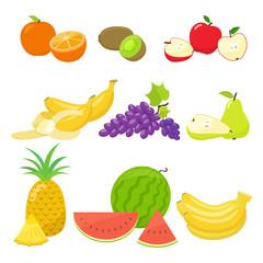 Set of colorful cartoon fruit icons isolated on white background. Vector stock illustration.