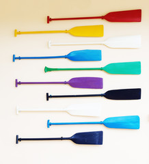 Colorful of Paddles and oars set. Sport rowing, travel kayaking,