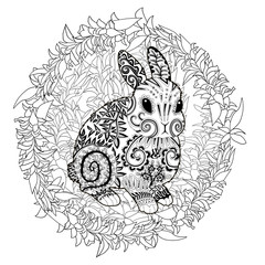 High detail patterned rabbit in zentangle style.